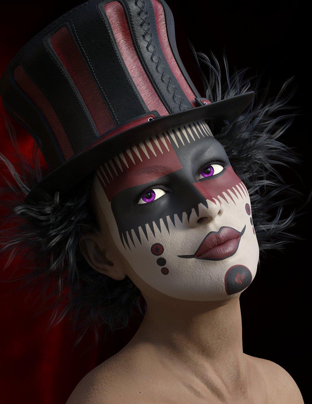Elvira for Genesis 8 Female and Harlequin L.I.E. Make Up by: Eligo Design, 3D Models by Daz 3D