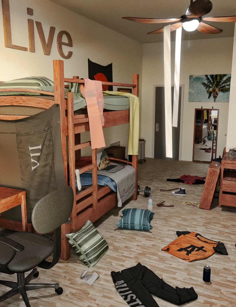 FG Cluttered Dorm by: Fugazi1968Ironman, 3D Models by Daz 3D