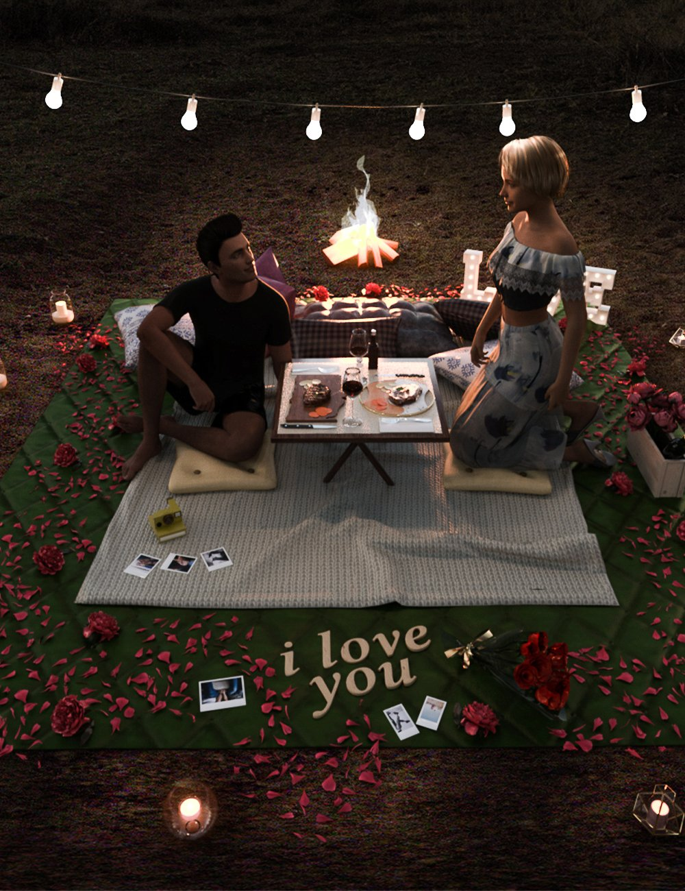 Date Night Setup by: bituka3d, 3D Models by Daz 3D