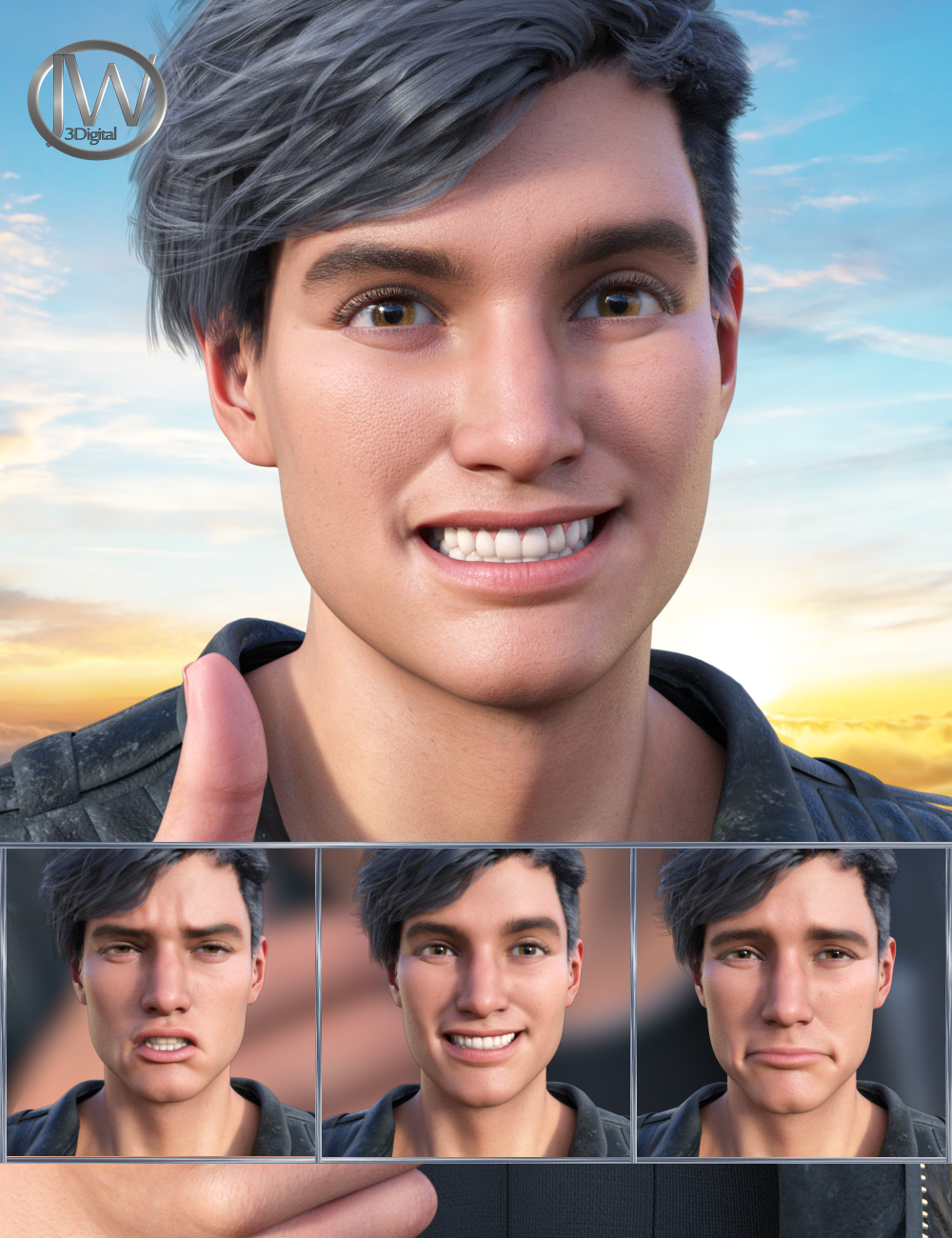New Faces Expressions for Genesis 8.1 Male and Michael 8.1 by: JWolf, 3D Models by Daz 3D