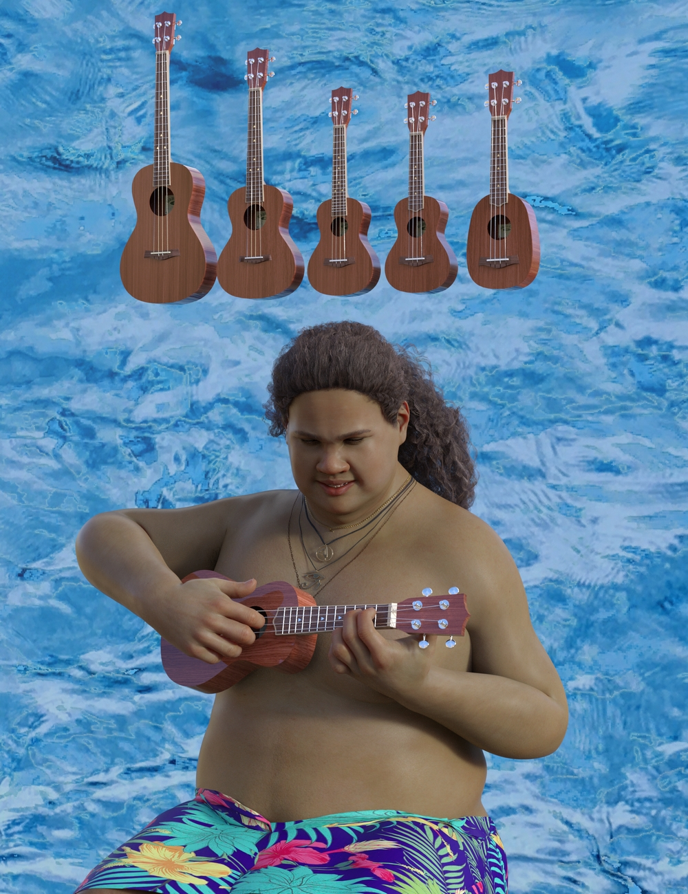 Ukulele Collection for Genesis 8 by: SirArtist, 3D Models by Daz 3D