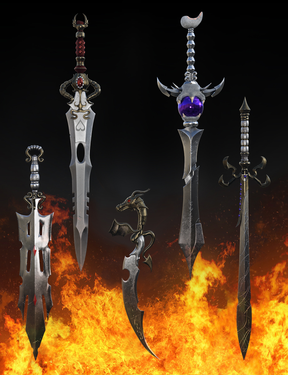 Fantasy Swords Collection Vol1 for Genesis 8 by: fjaa3d, 3D Models by Daz 3D