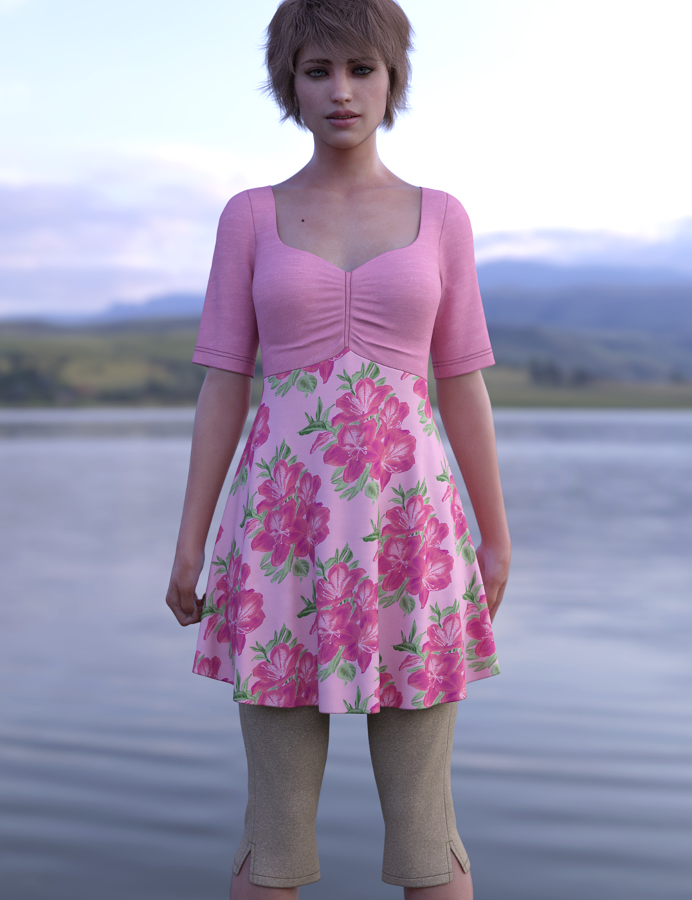dForce Capri Outfit for Genesis 8 Females by: Leviathan, 3D Models by Daz 3D