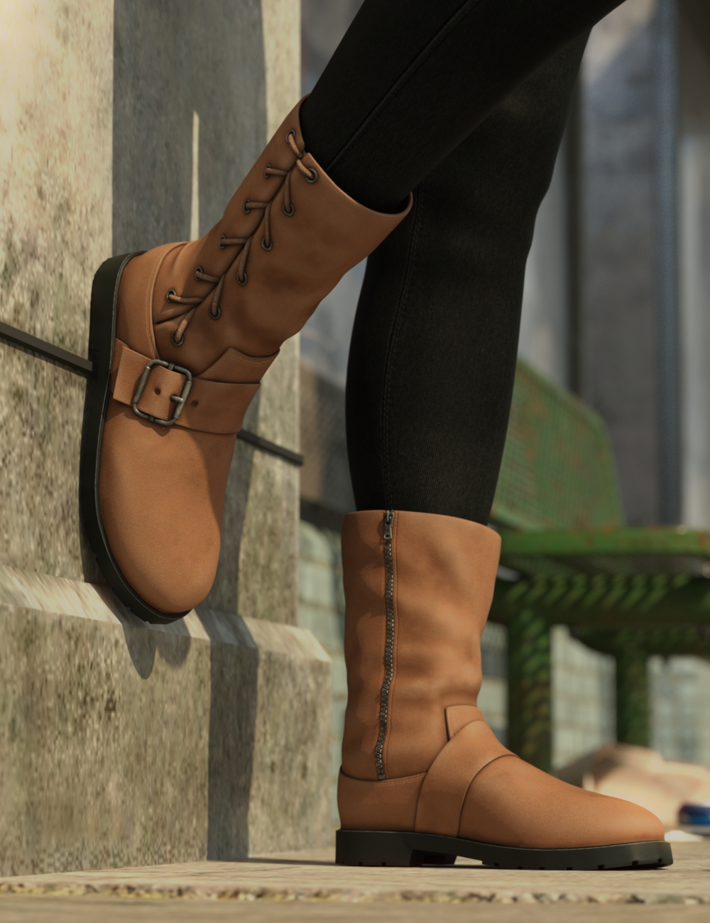 Side Laced Boots for Genesis 8 Female by: Predatron, 3D Models by Daz 3D