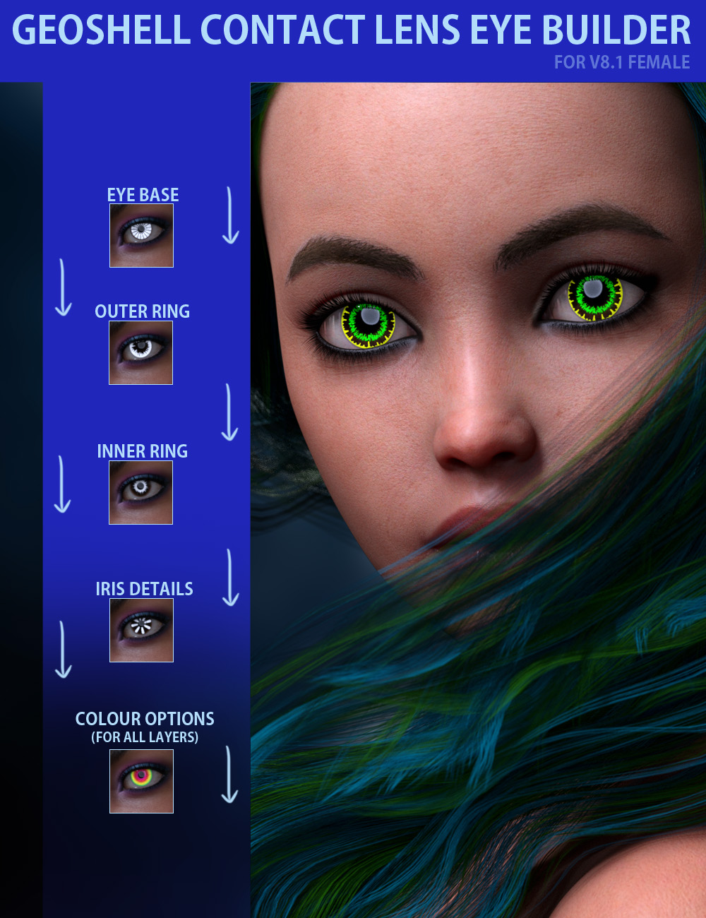 Geoshell Contact Lens Builder for Victoria 8.1 by: ForbiddenWhispers, 3D Models by Daz 3D