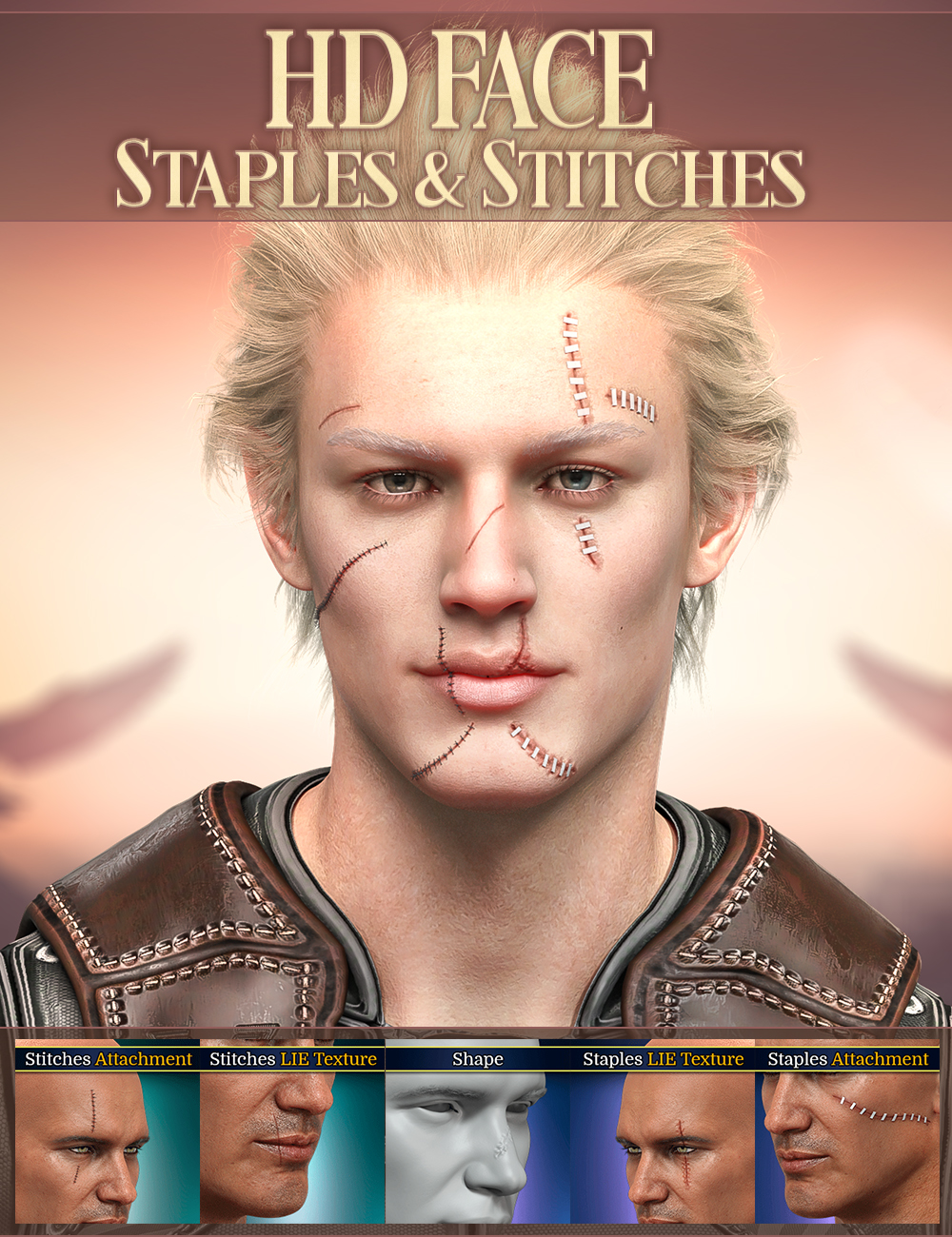 HD Face Staples and Stitches for Genesis 8 Males by: FenixPhoenixEsid, 3D Models by Daz 3D