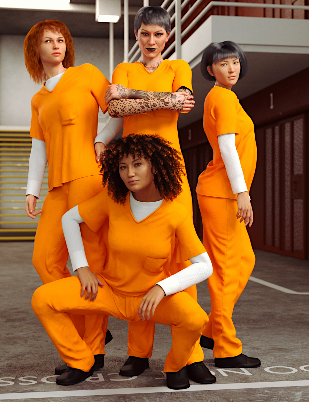 dForce Prison Inmate Clothing for Genesis 8 and 8.1 Females by: Toyen, 3D Models by Daz 3D