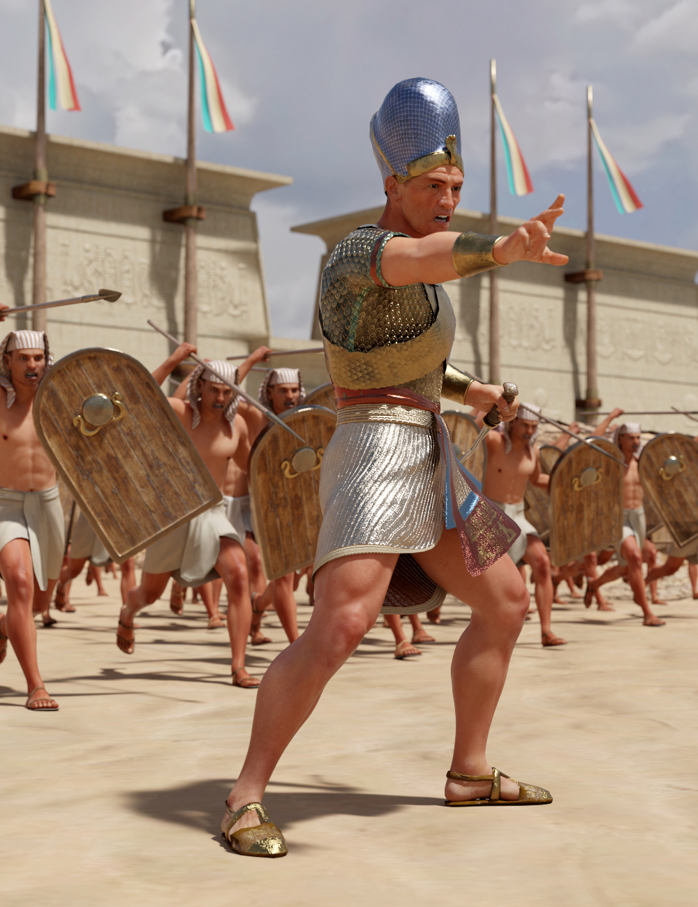 Pharaoh At War Characters and Outfit for Genesis 8 Male by: Deepsea, 3D Models by Daz 3D
