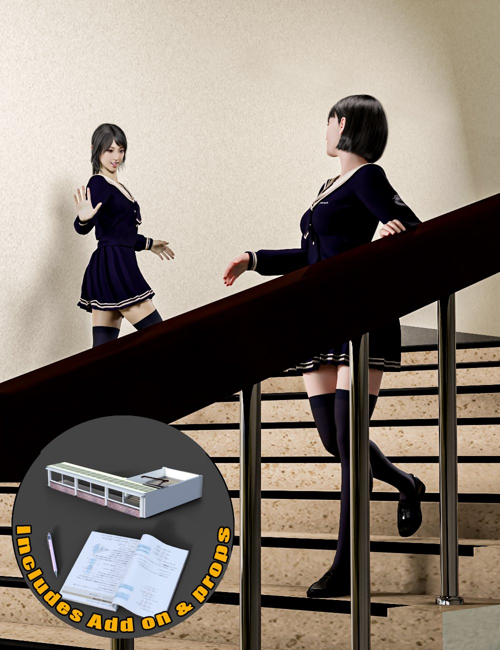 Japanese Neat Classroom Poses and Add on for Genesis 8 Female by: mossberg, 3D Models by Daz 3D