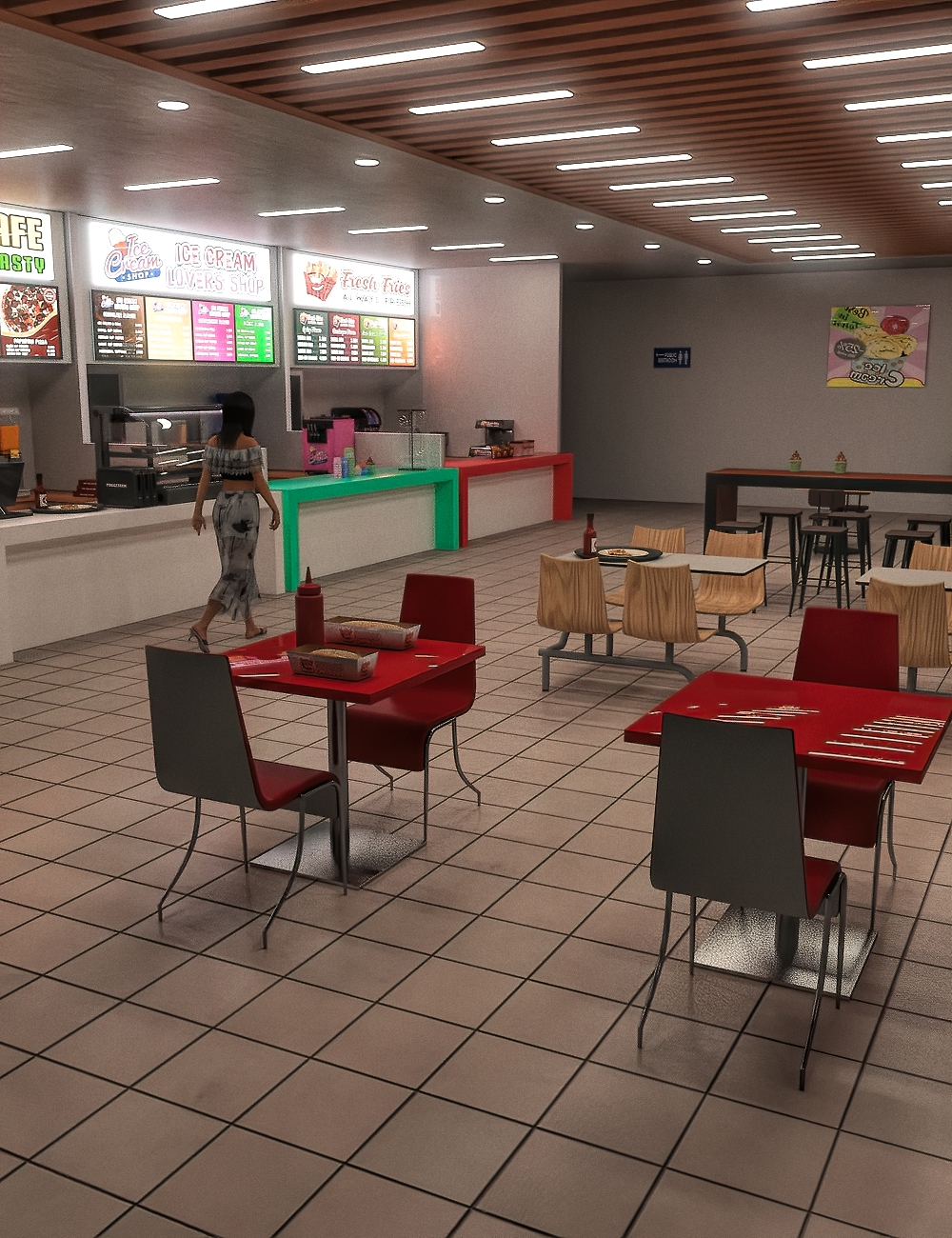 FG Food Court by: Fugazi1968PAN StudiosIronman, 3D Models by Daz 3D