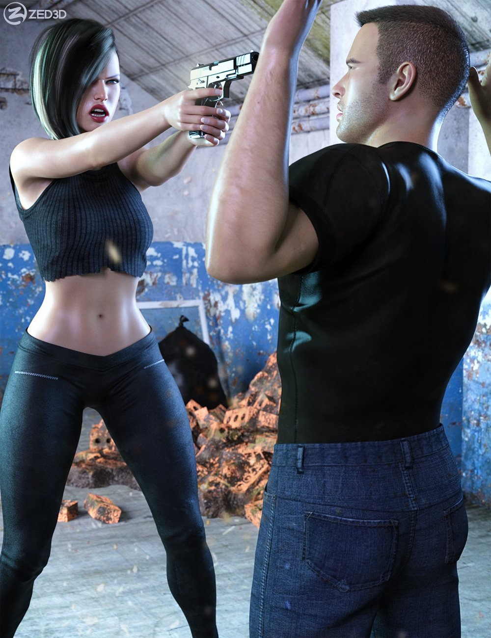 Z At Gunpoint Scenario Builder for Genesis 8 and 8.1 by: Zeddicuss, 3D Models by Daz 3D