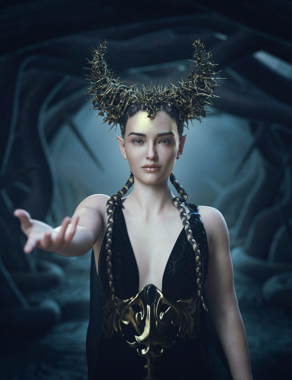 Thorns and Petals Headdress for Genesis 8 Females by: Hypertaf, 3D Models by Daz 3D