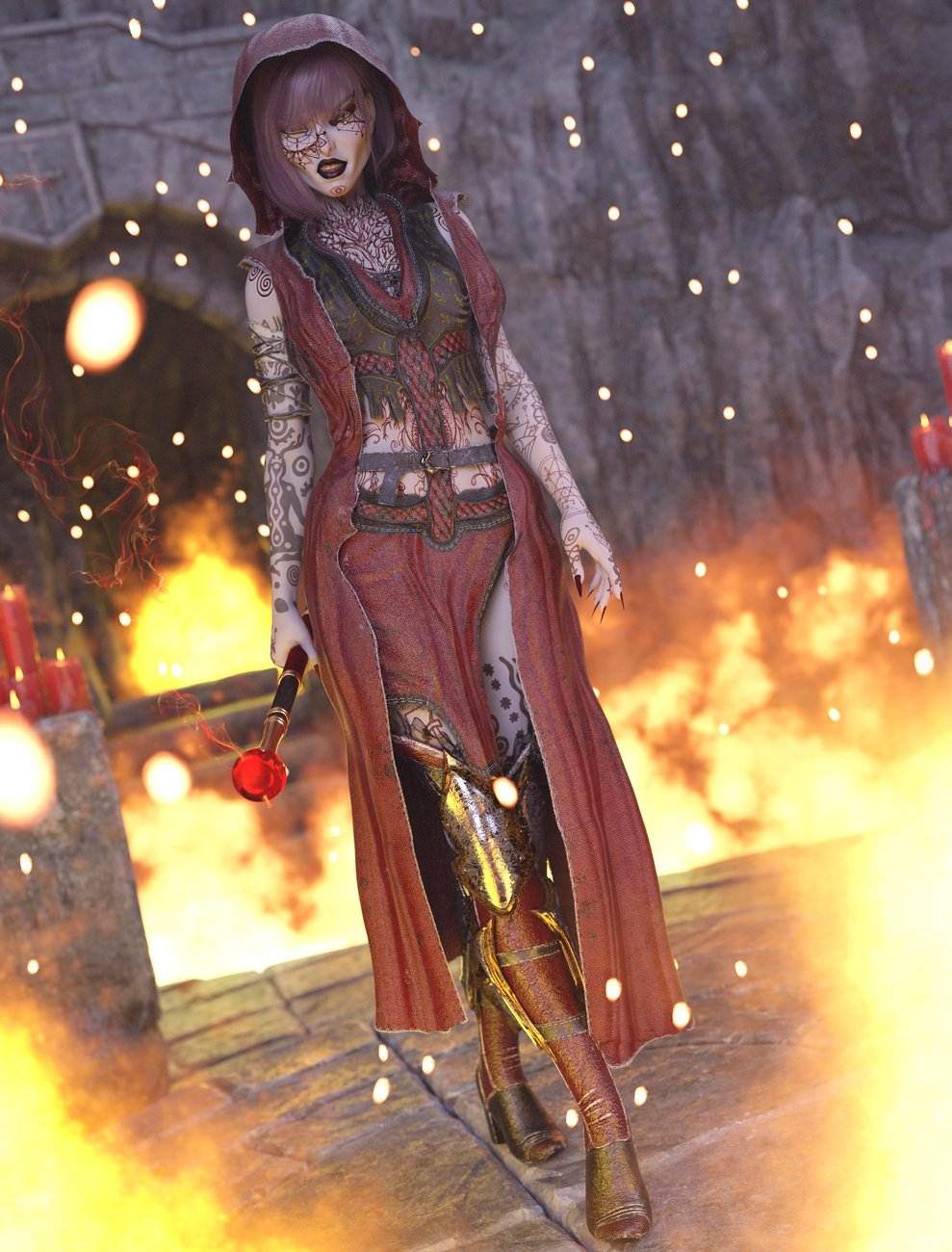dForce Diabolus Outfit for Genesis 8 and 8.1 Female by: Sixus1 Media, 3D Models by Daz 3D