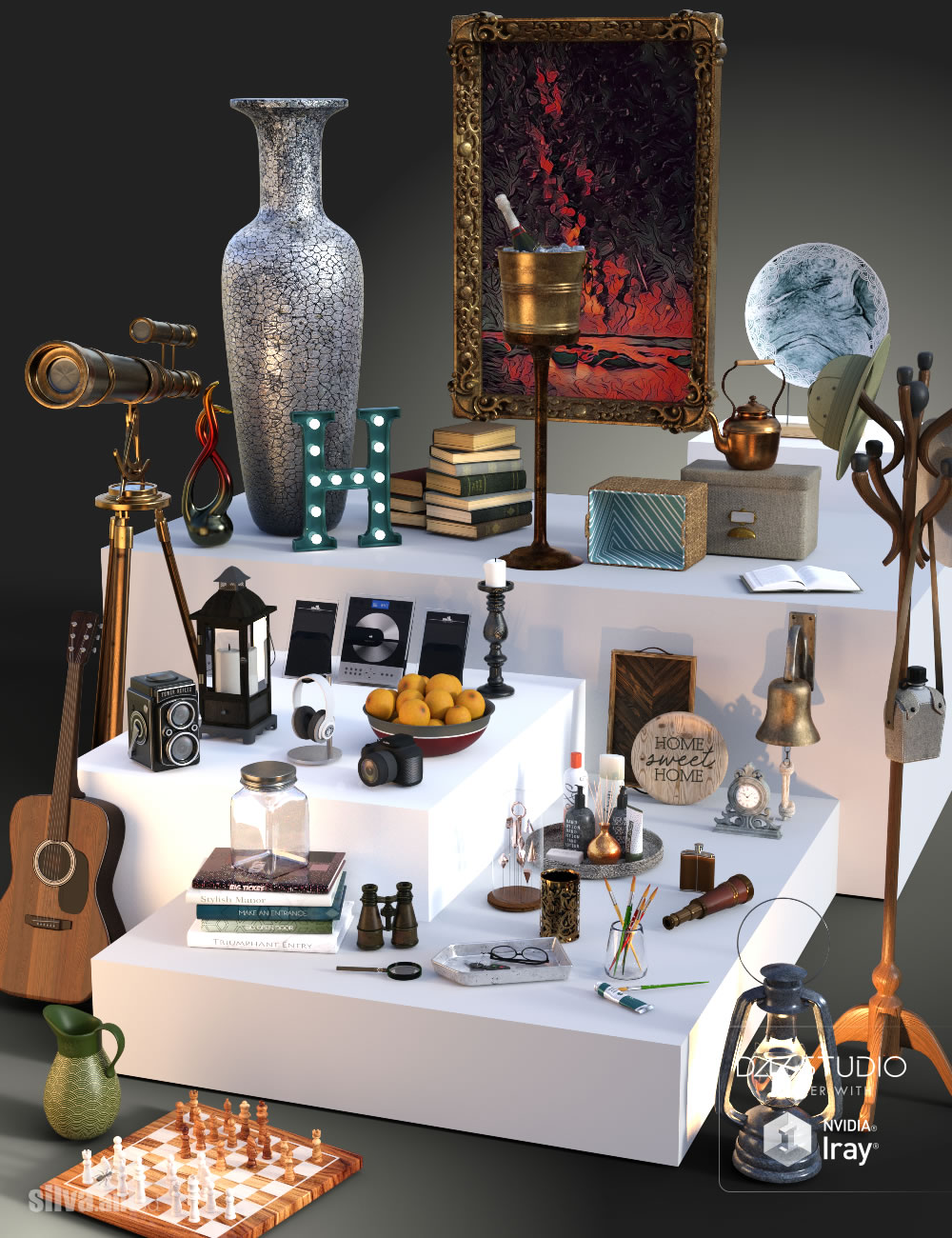 Collection of Decor Objects by: SilvaAnt3d, 3D Models by Daz 3D