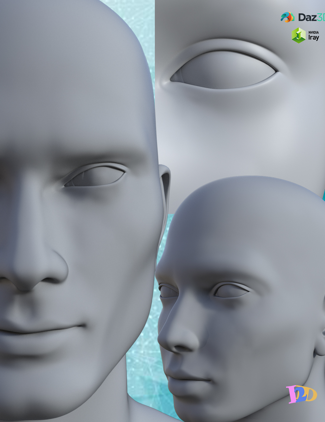 Real Head Morphs for Genesis 8 Male and Genesis 8.1 Males by: I2D, 3D Models by Daz 3D
