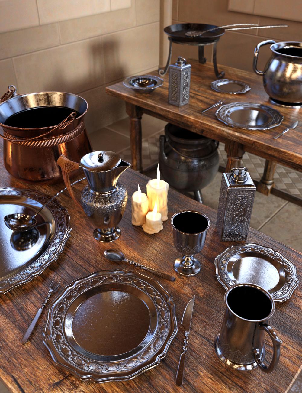 Medieval Kitchenware by: Merlin Studios, 3D Models by Daz 3D