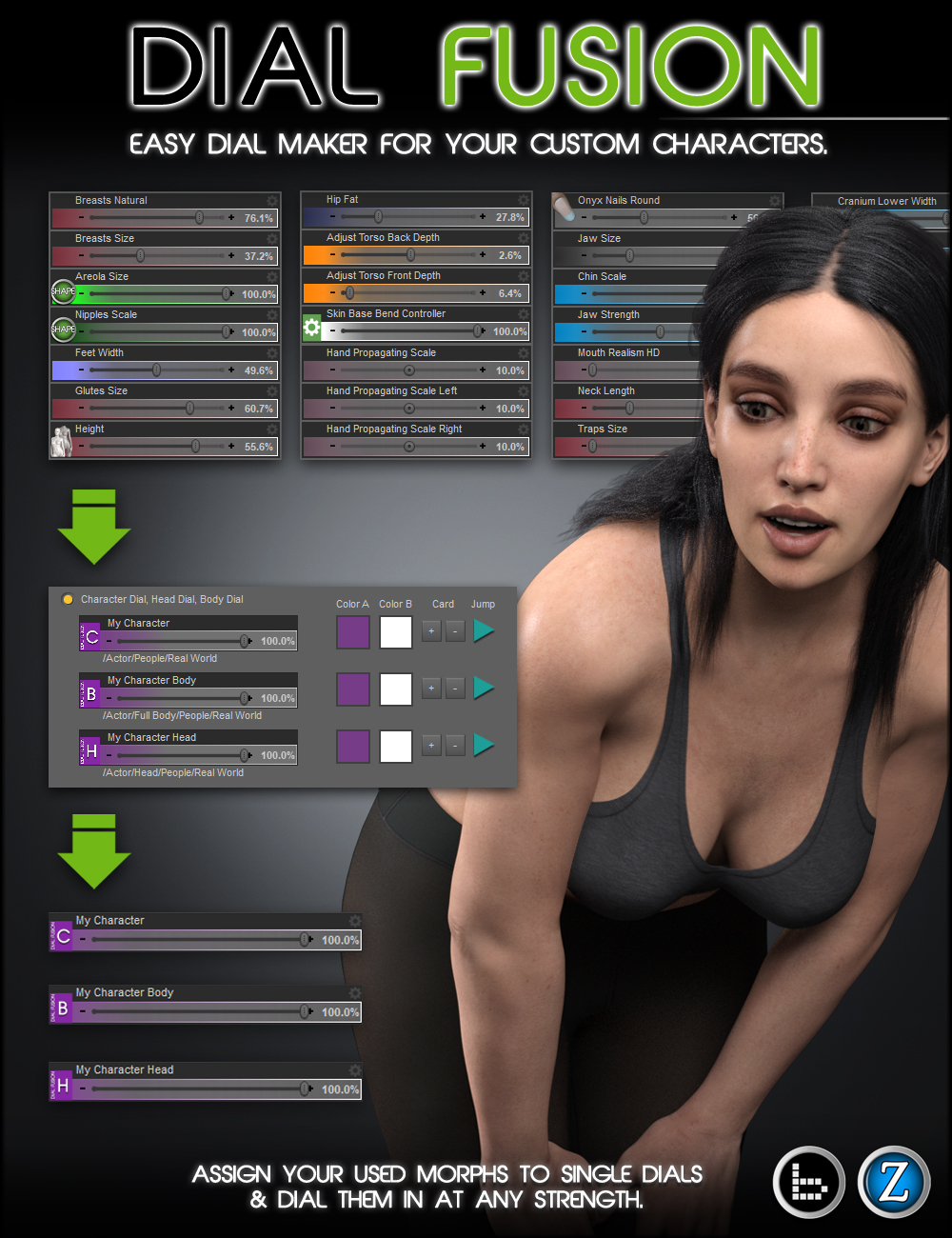 Dial Fusion for Genesis 2 to 8.1 by: Zev0bitwelder, 3D Models by Daz 3D