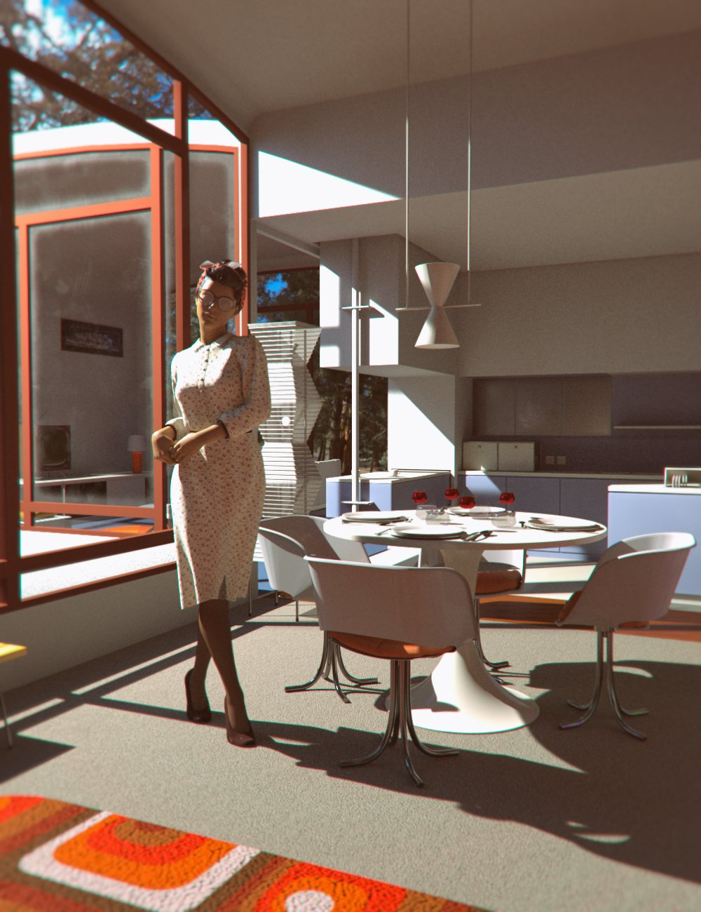 70s Modern House by: Mely3D, 3D Models by Daz 3D