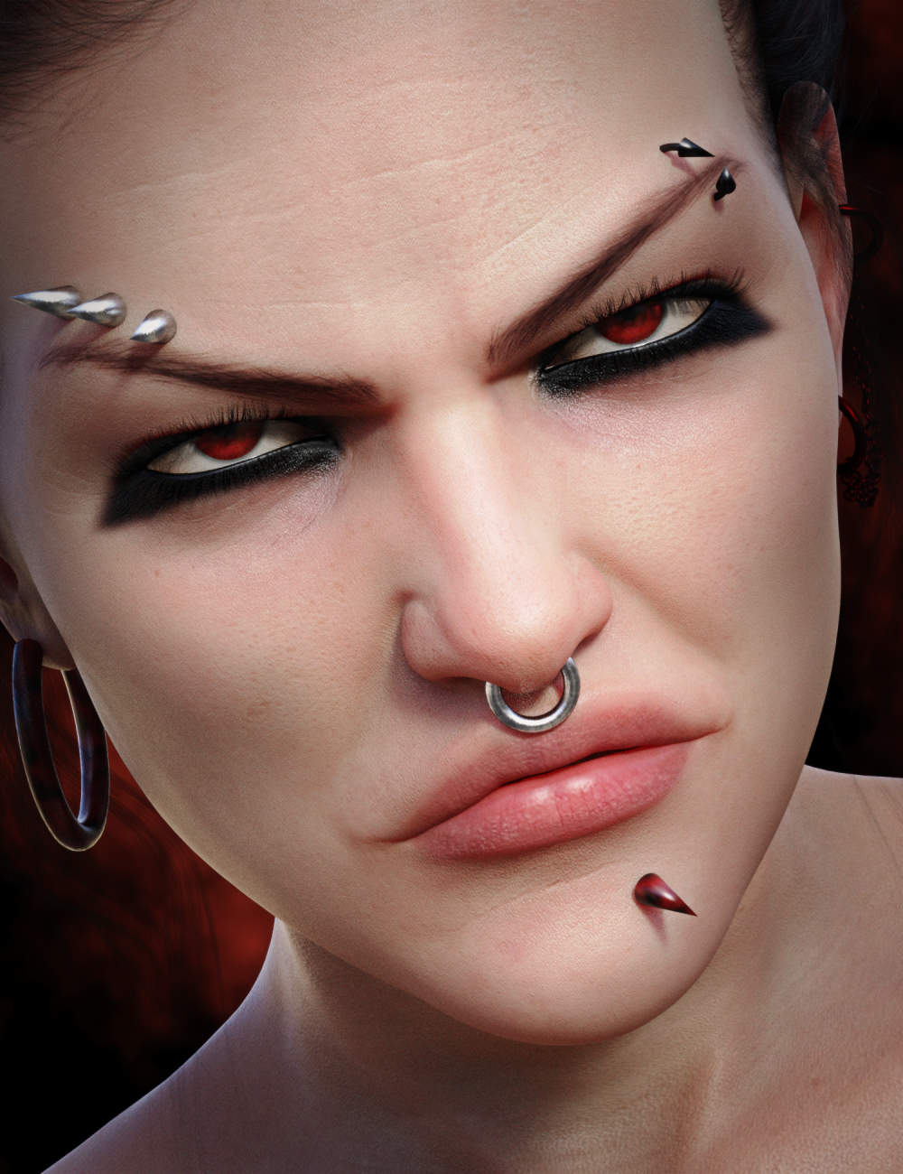 Devilish Piercing for Genesis 8 and 8.1 Females by: Neikdian, 3D Models by Daz 3D