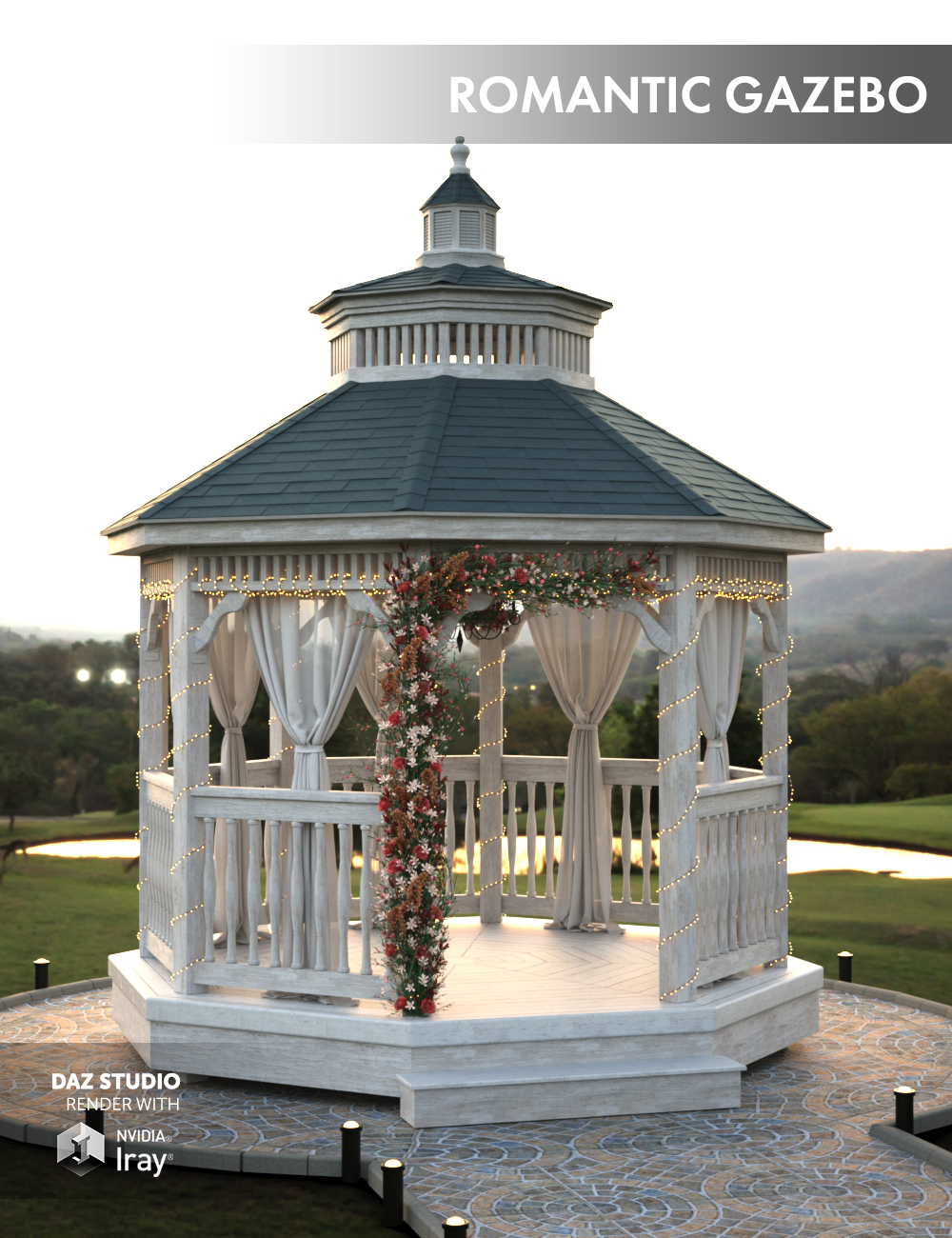 Romantic Gazebo by: Dimidrol, 3D Models by Daz 3D