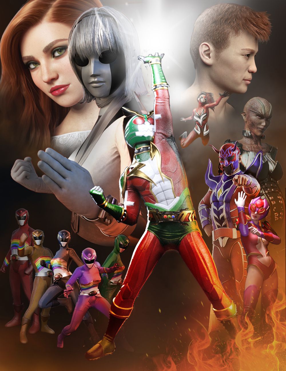 Flashback Heroes Bundle by: , 3D Models by Daz 3D