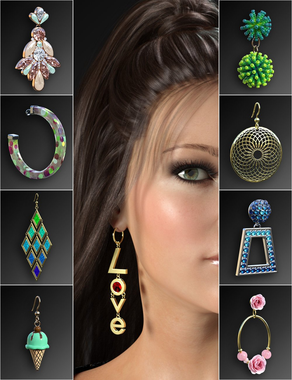 Statement Earrings Megapack for Genesis 8 and 8.1 Females by: esha, 3D Models by Daz 3D