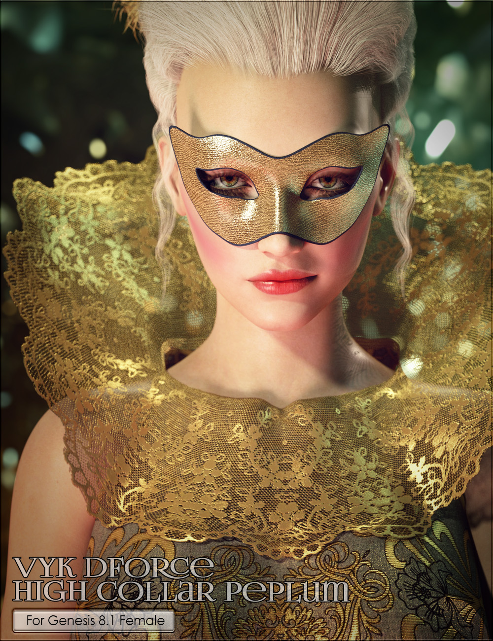 VYK dForce High Collar Peplum by: vyktohria, 3D Models by Daz 3D
