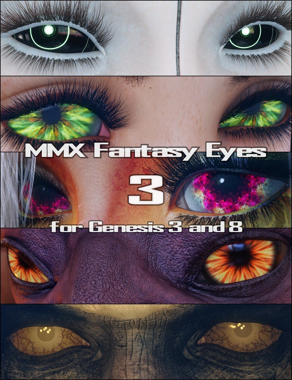 MMX Fantasy Eyes 3 for Genesis 3 and 8 by: Mattymanx, 3D Models by Daz 3D