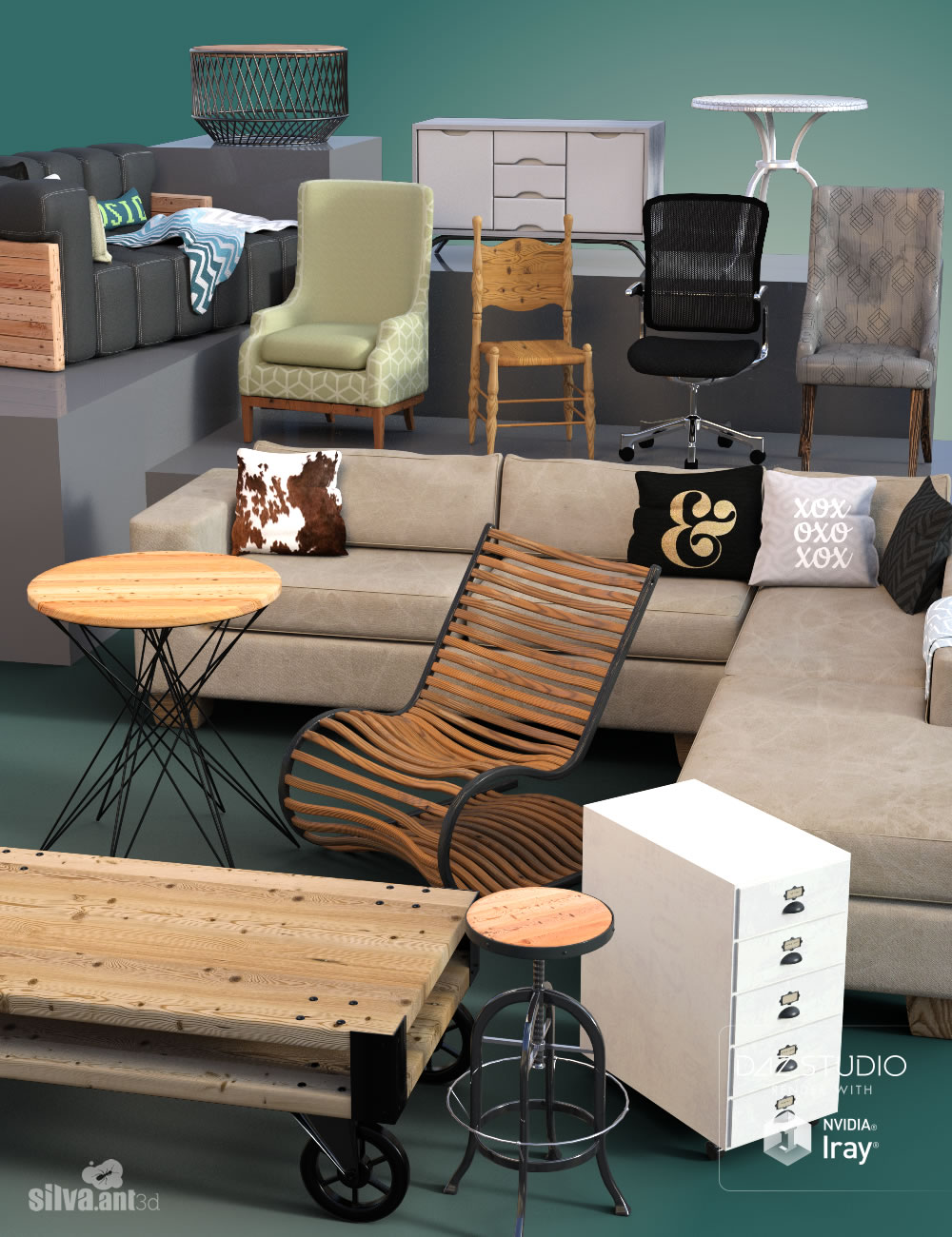 Collection of Furniture by: SilvaAnt3d, 3D Models by Daz 3D