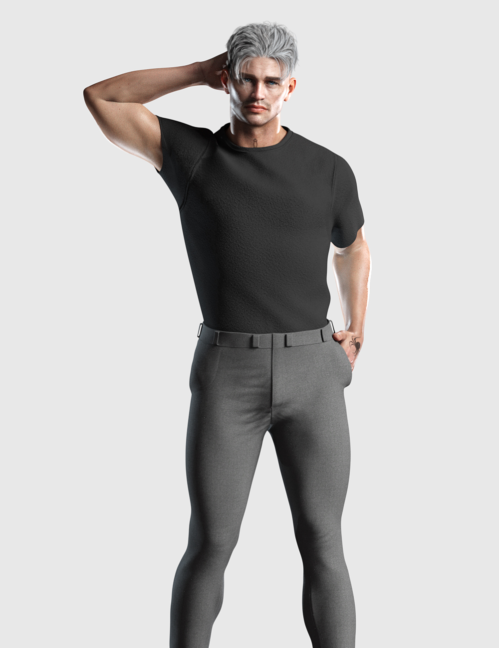 dForce Tucked Tee Outfit for Genesis 8 and 8.1 Males by: Romeo, 3D Models by Daz 3D