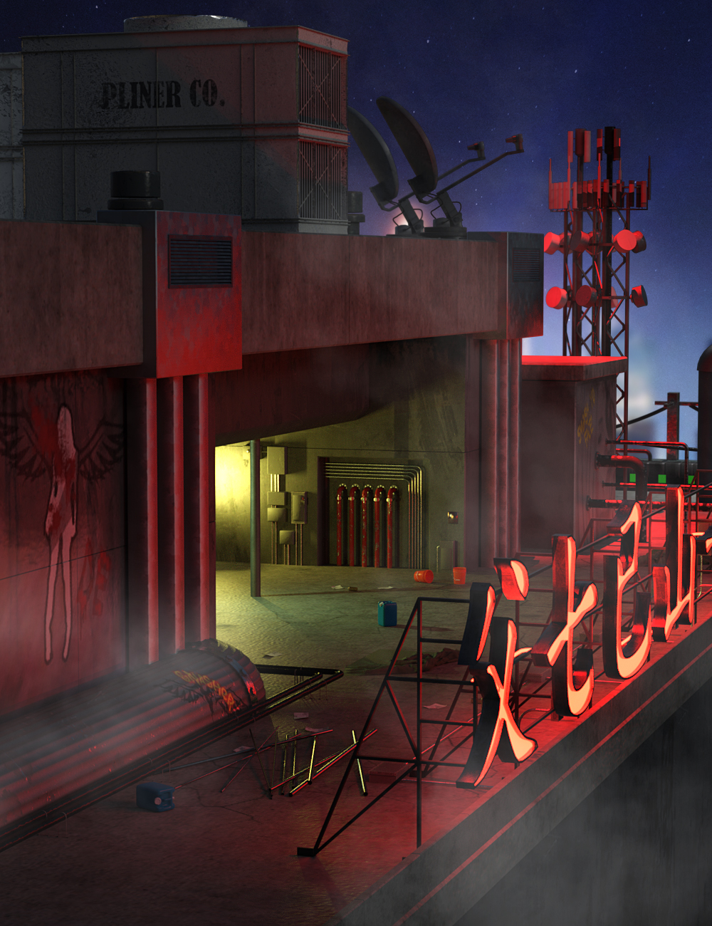 SciFi Rooftop CyberPunk by: DarkEdgeDesign, 3D Models by Daz 3D