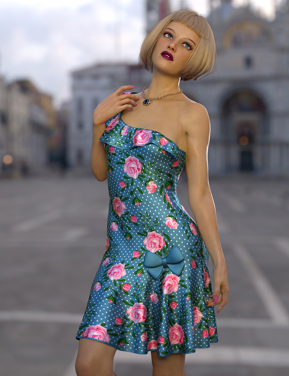 dForce Rose Dress Outfit for Genesis 8 and 8.1 Females by: Nelmi, 3D Models by Daz 3D