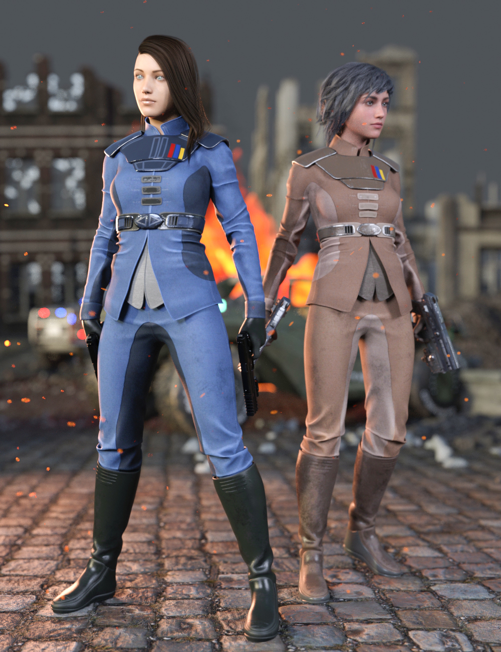 Sci-Fi Sergeant Outfit for Genesis 8.1 Females by: Yura, 3D Models by Daz 3D