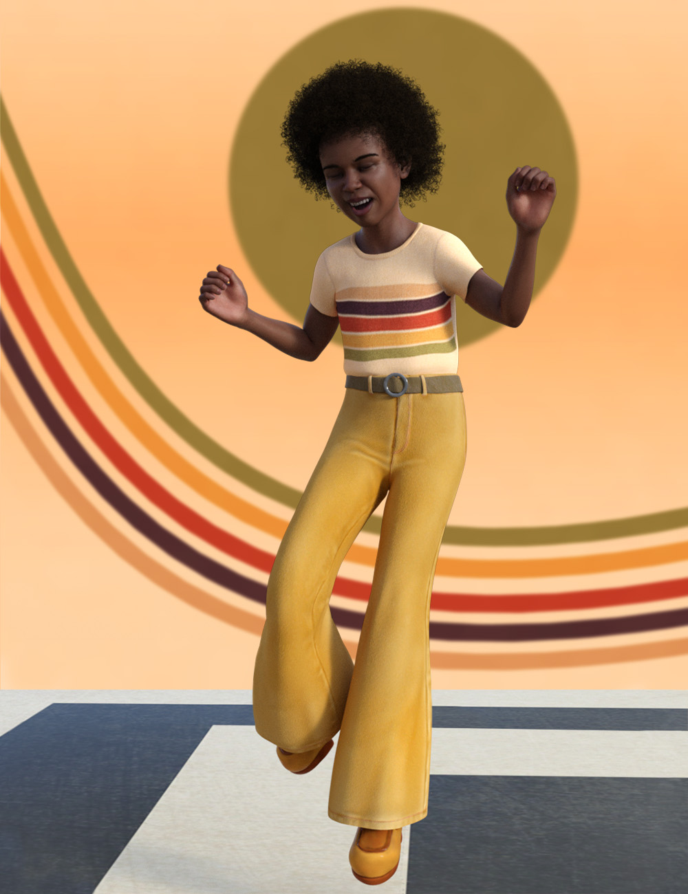 Child Antoine and 1970s Outfit for Genesis 8 Male by: ThePenguin, 3D Models by Daz 3D