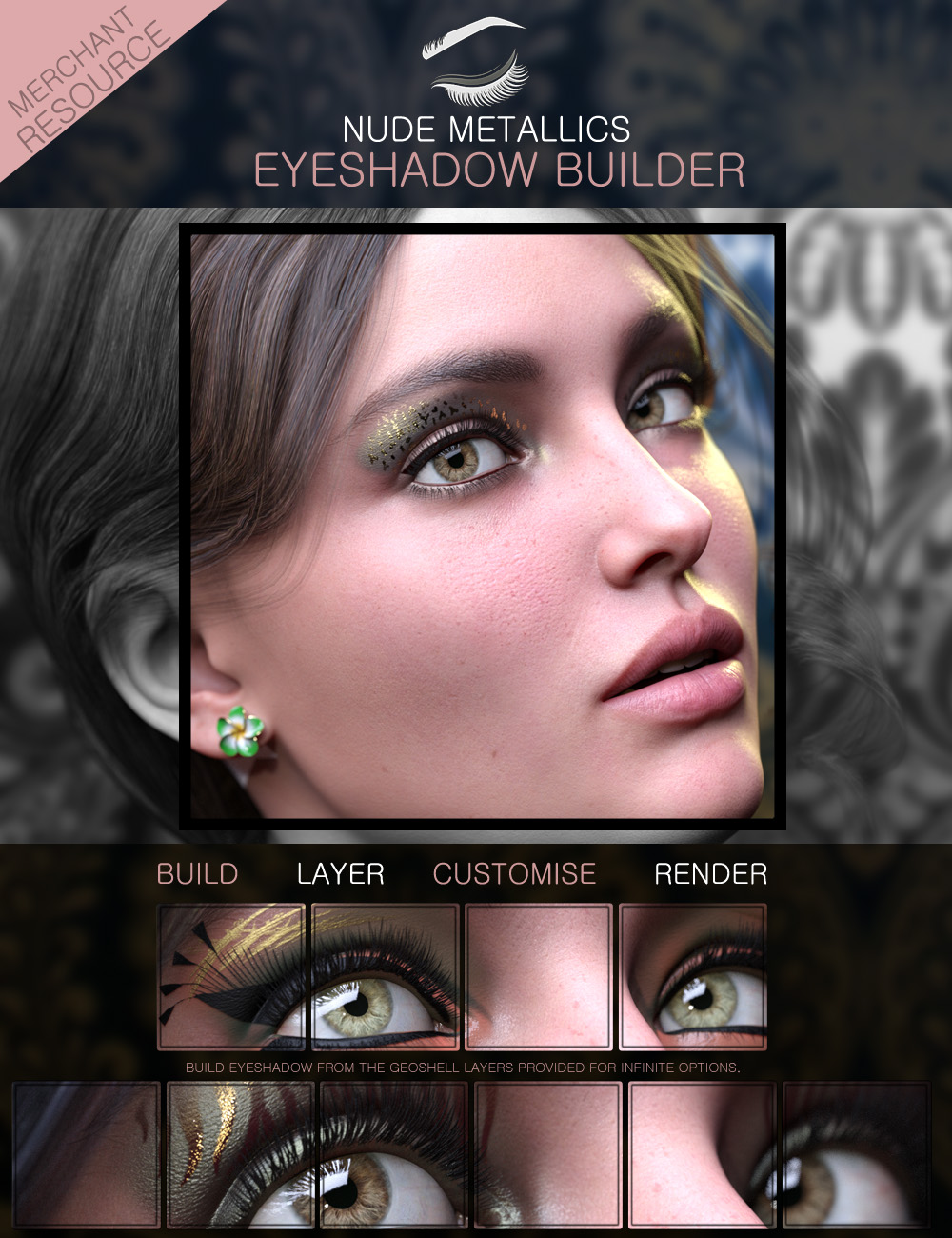 Nude Metallics Eyeshadow Builder Genesis 8 Females Merchant Resource by: ForbiddenWhispers, 3D Models by Daz 3D