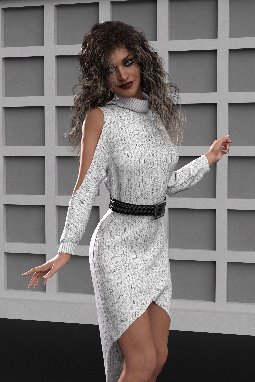 dForce Cold Shoulder Dress for Genesis 8 and 8.1 Females by: Lyrra MadrilMoonscape GraphicsSade, 3D Models by Daz 3D
