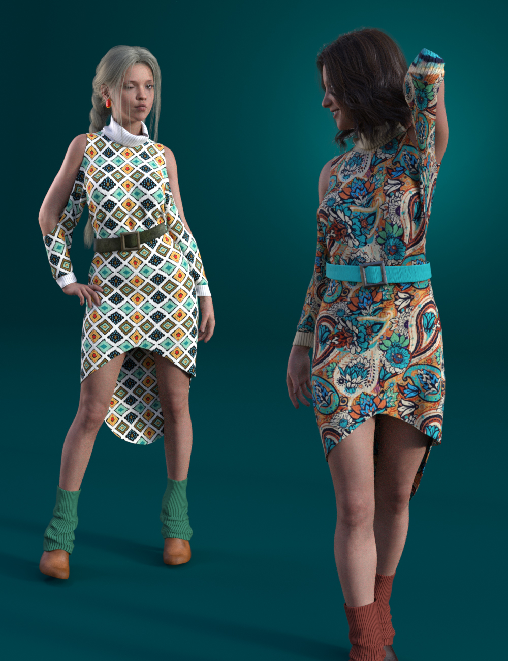 dForce Cold Shoulder: Patterned Knit Textures by: Moonscape GraphicsSade, 3D Models by Daz 3D