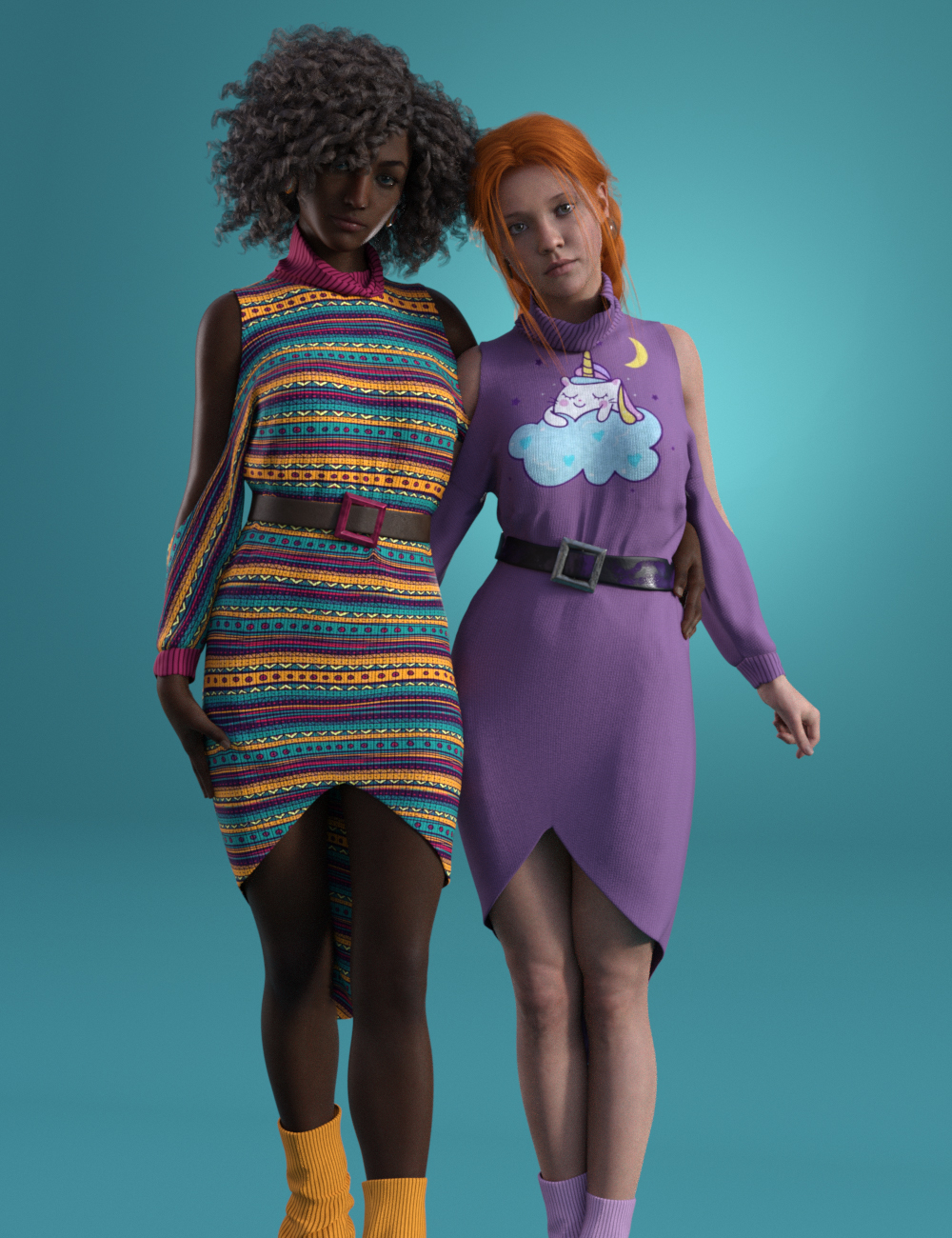 dForce Cold Shoulder: Graphic Knit Textures by: Moonscape GraphicsSade, 3D Models by Daz 3D