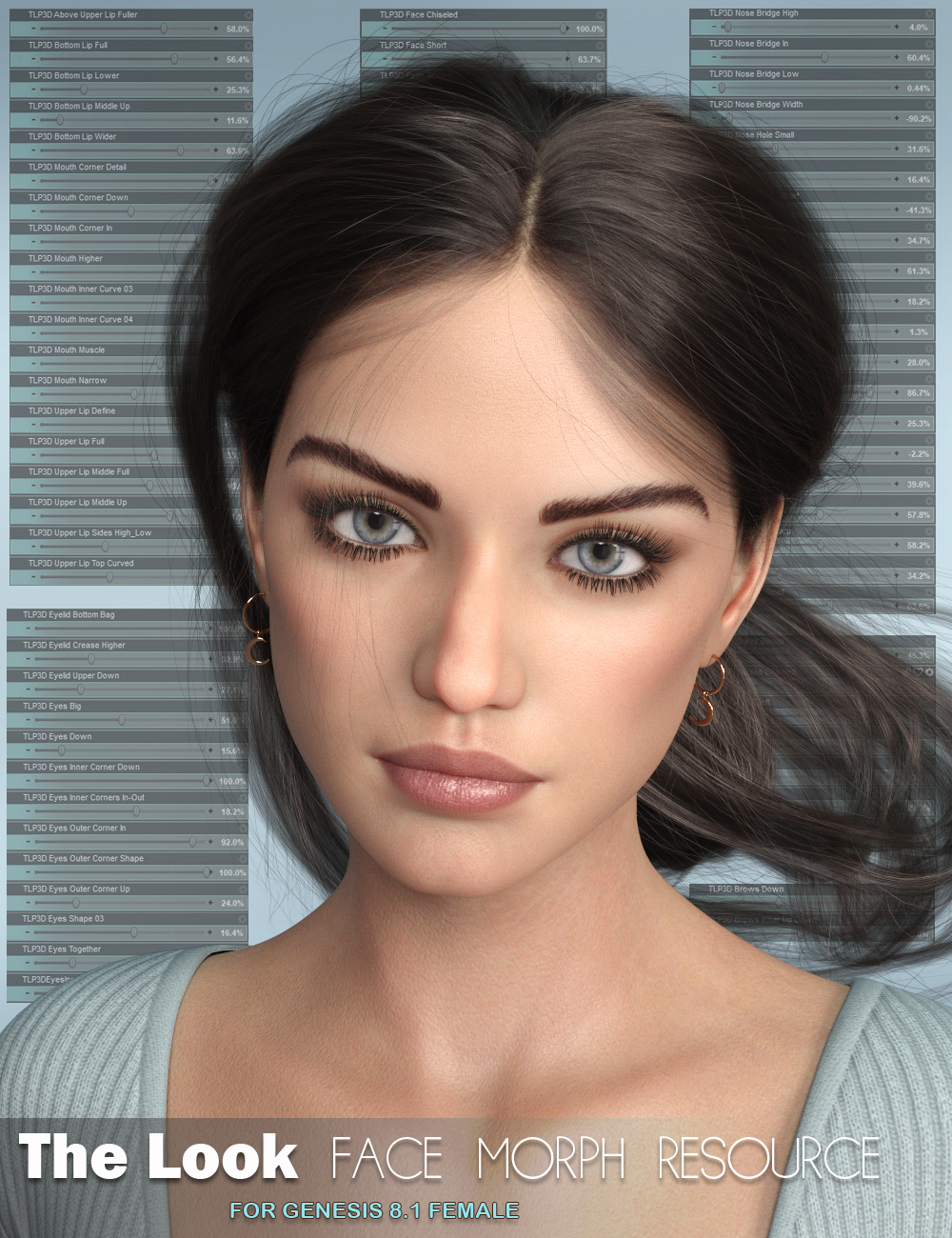 The Look Face Morph Resource for Genesis 8.1 Females by: P3Design, 3D Models by Daz 3D