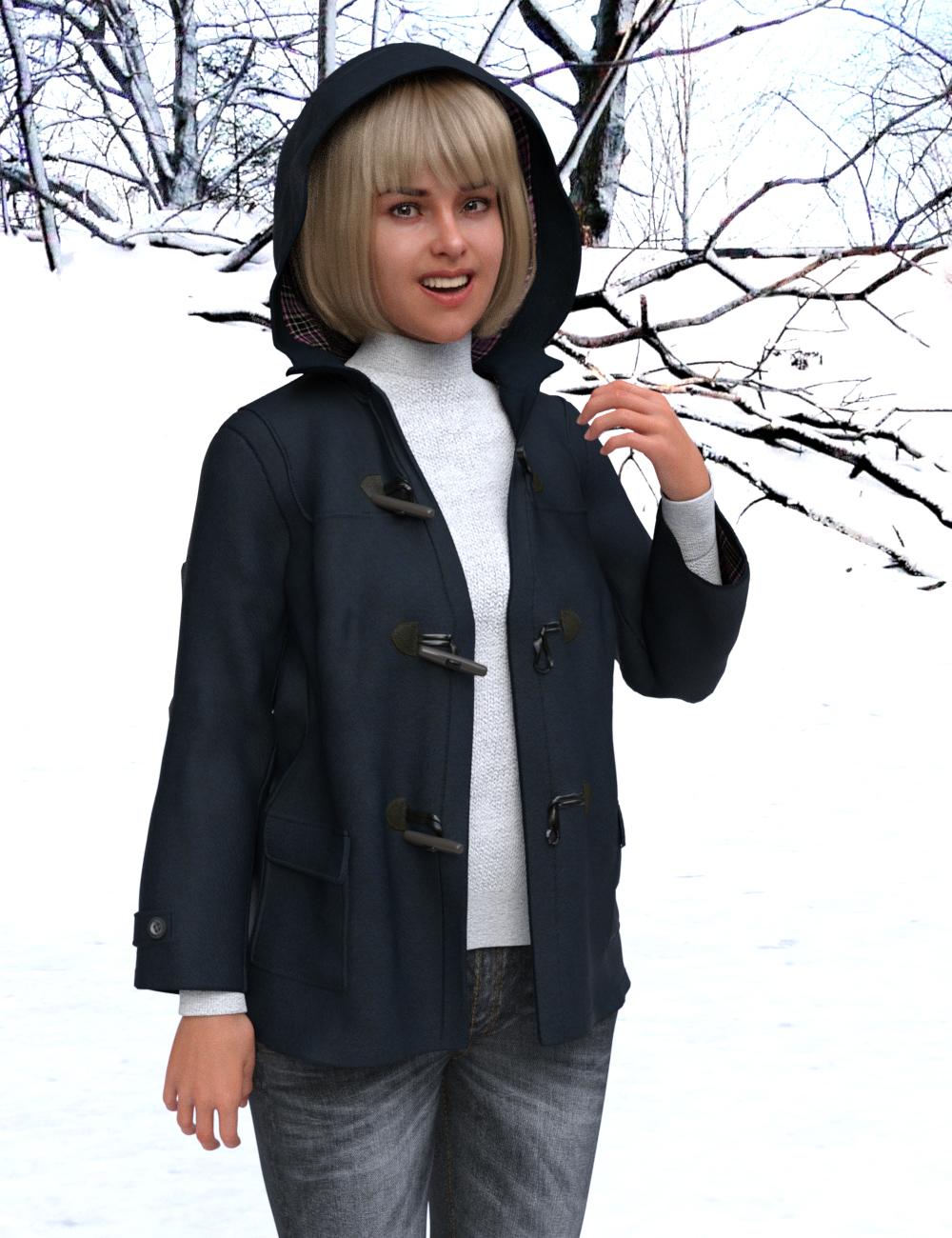dForce KM Duffle Coat for Genesis 8 Females by: kobamax, 3D Models by Daz 3D