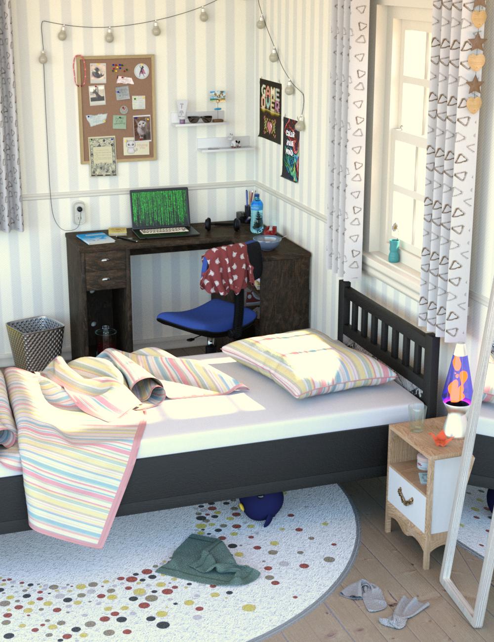 Messy Vignette Bedroom by: Sylvan, 3D Models by Daz 3D
