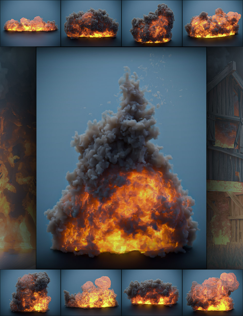 Pyromantix - Volumetric Flames by: DimensionTheory, 3D Models by Daz 3D