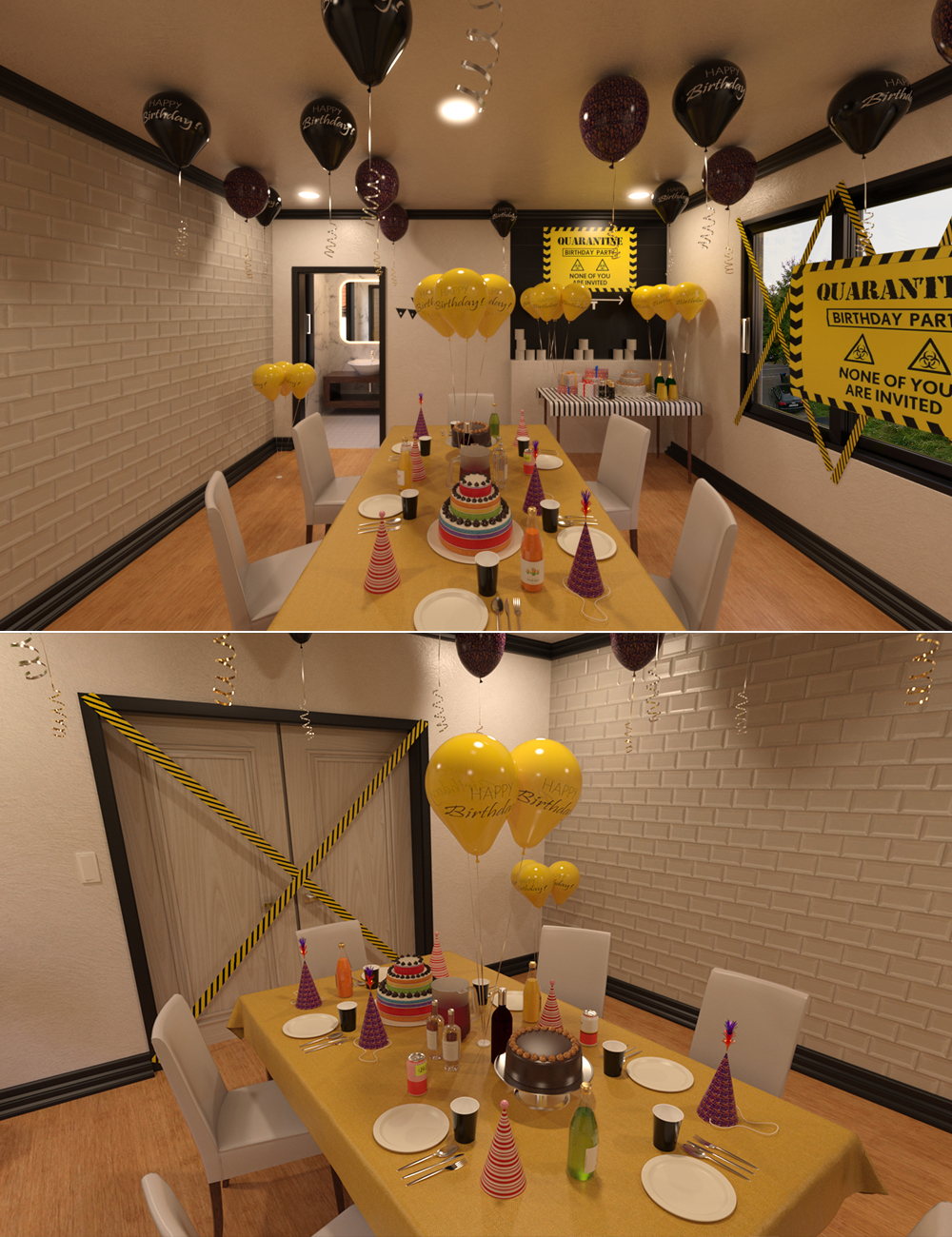Quarantine Birthday Setup by: bituka3d, 3D Models by Daz 3D