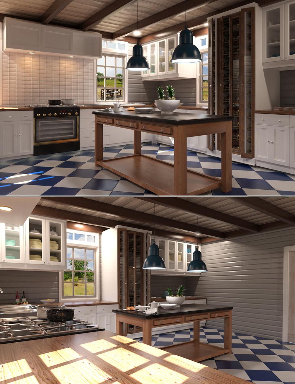 Hampton Kitchen by: Tesla3dCorp, 3D Models by Daz 3D