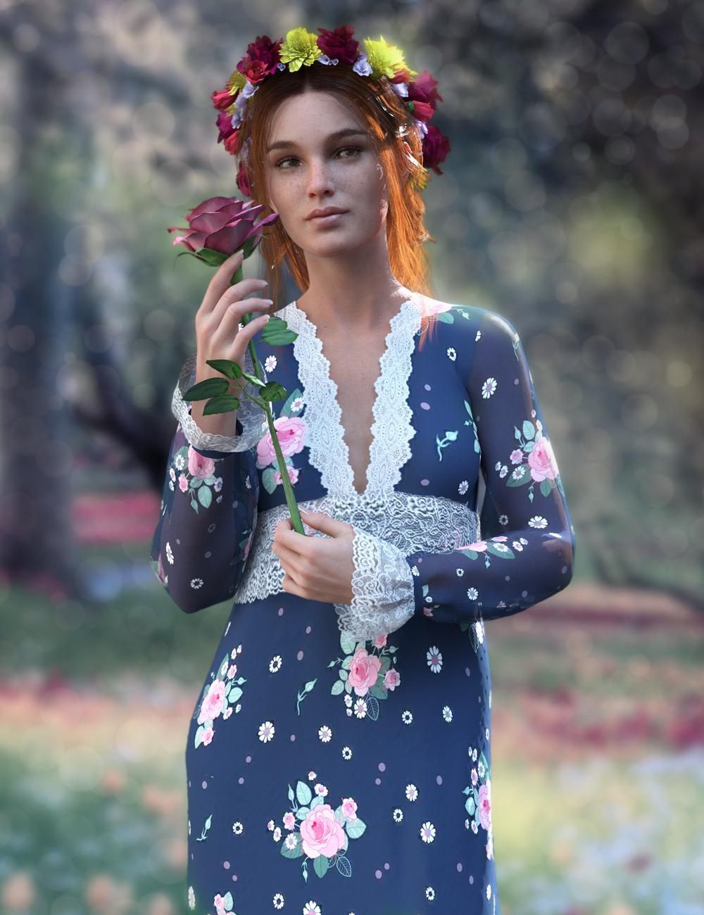 dForce YesterYear Nightgown Outfit for Genesis 8 Females by: Pixelunashadownet, 3D Models by Daz 3D