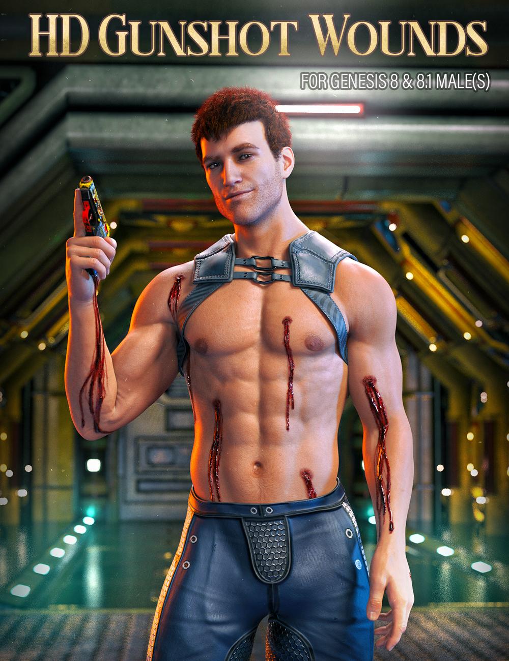 HD Gunshot Wounds for Genesis 8 and 8.1 Males by: FenixPhoenixEsid, 3D Models by Daz 3D