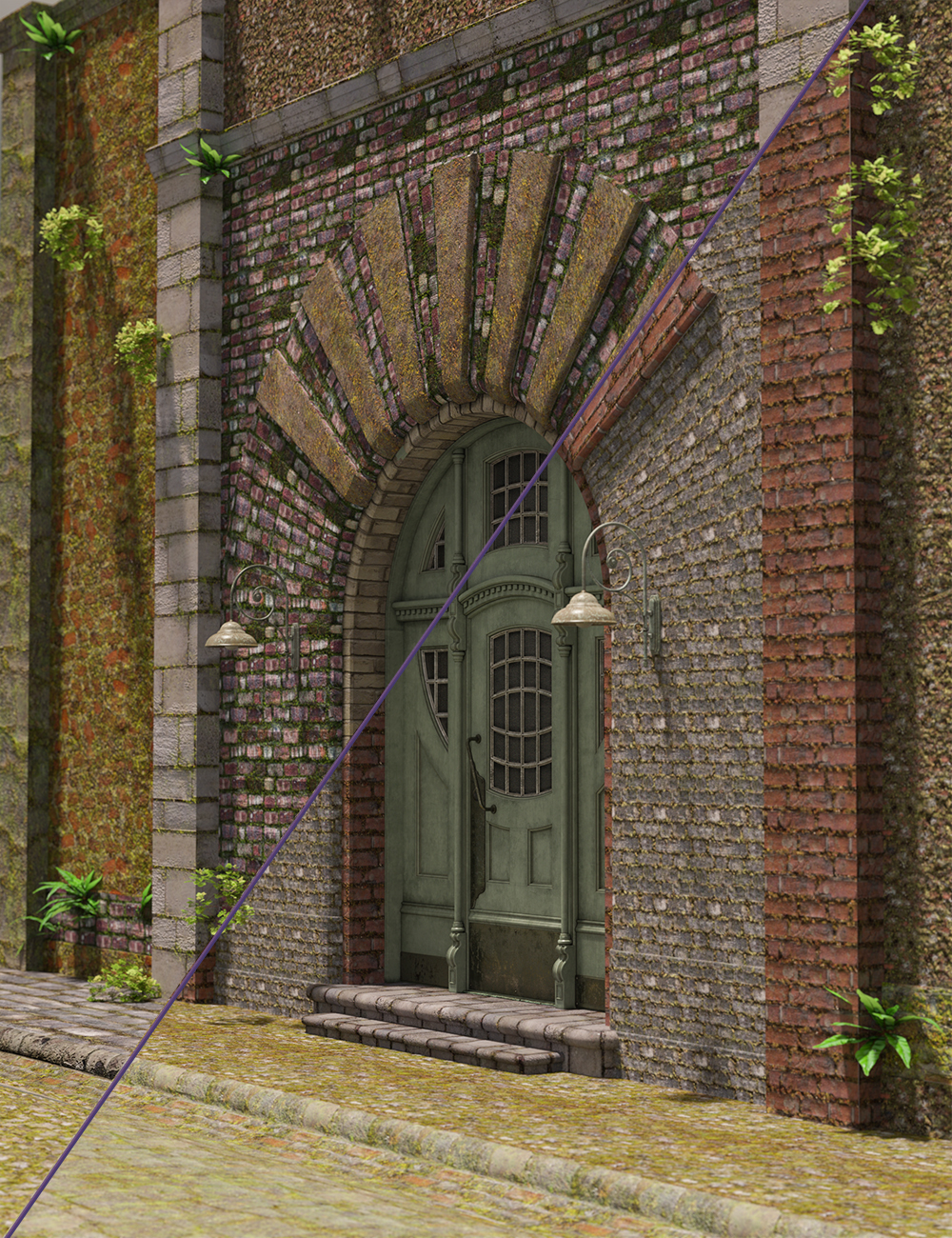 Ancient Stones- Mossy Walls by: MartinJFrost, 3D Models by Daz 3D