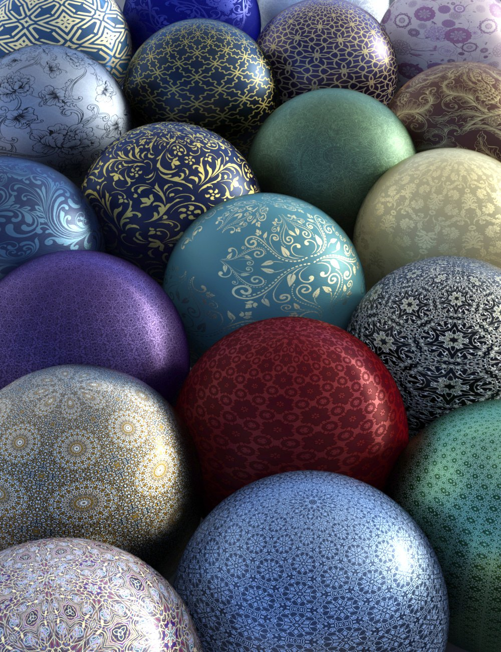 Ornamental Silk Shaders for Iray by: AHArt, 3D Models by Daz 3D