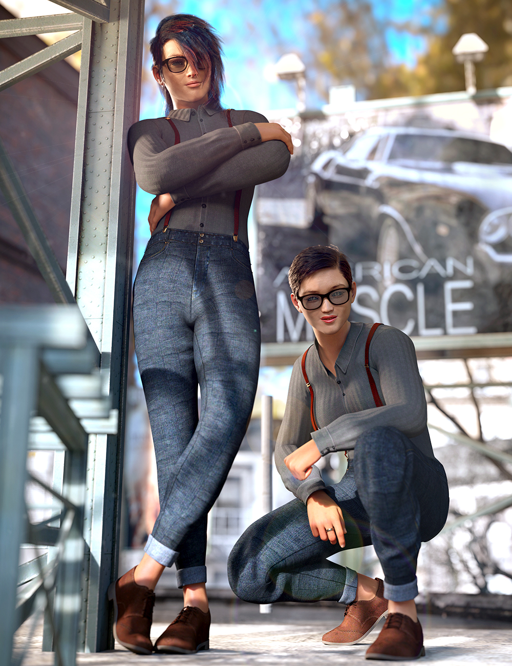 dForce Style Goals Outfit for Genesis 8 and 8.1 by: Barbara BrundonUmblefuglyArien, 3D Models by Daz 3D