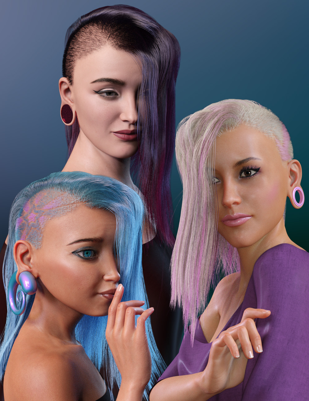 WD Salon: Side Shave Shag dForce Hair for Genesis 8.1 Female by: WillDupre, 3D Models by Daz 3D